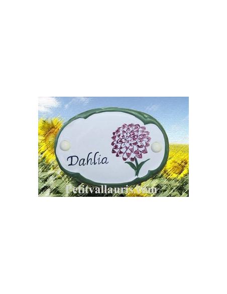 Plaque de porte décor fleur dalhia personnalisé