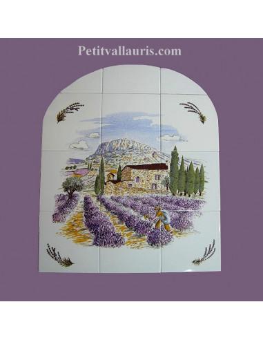 Fresque fa ence arrondie champs de lavande et brins le for Le petit vallauris