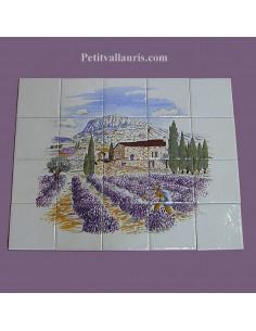 Fresque céramique rectangulaire décor champs de lavande 40 x 50 cm