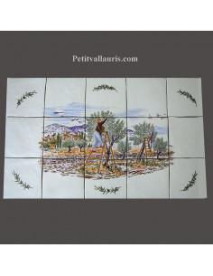 Fresque céramique rectangulaire décor récolte des olives et rappels olives
