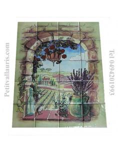 Fresque céramique rectangulaire décor trompe l'oeil provençal fond vert clair