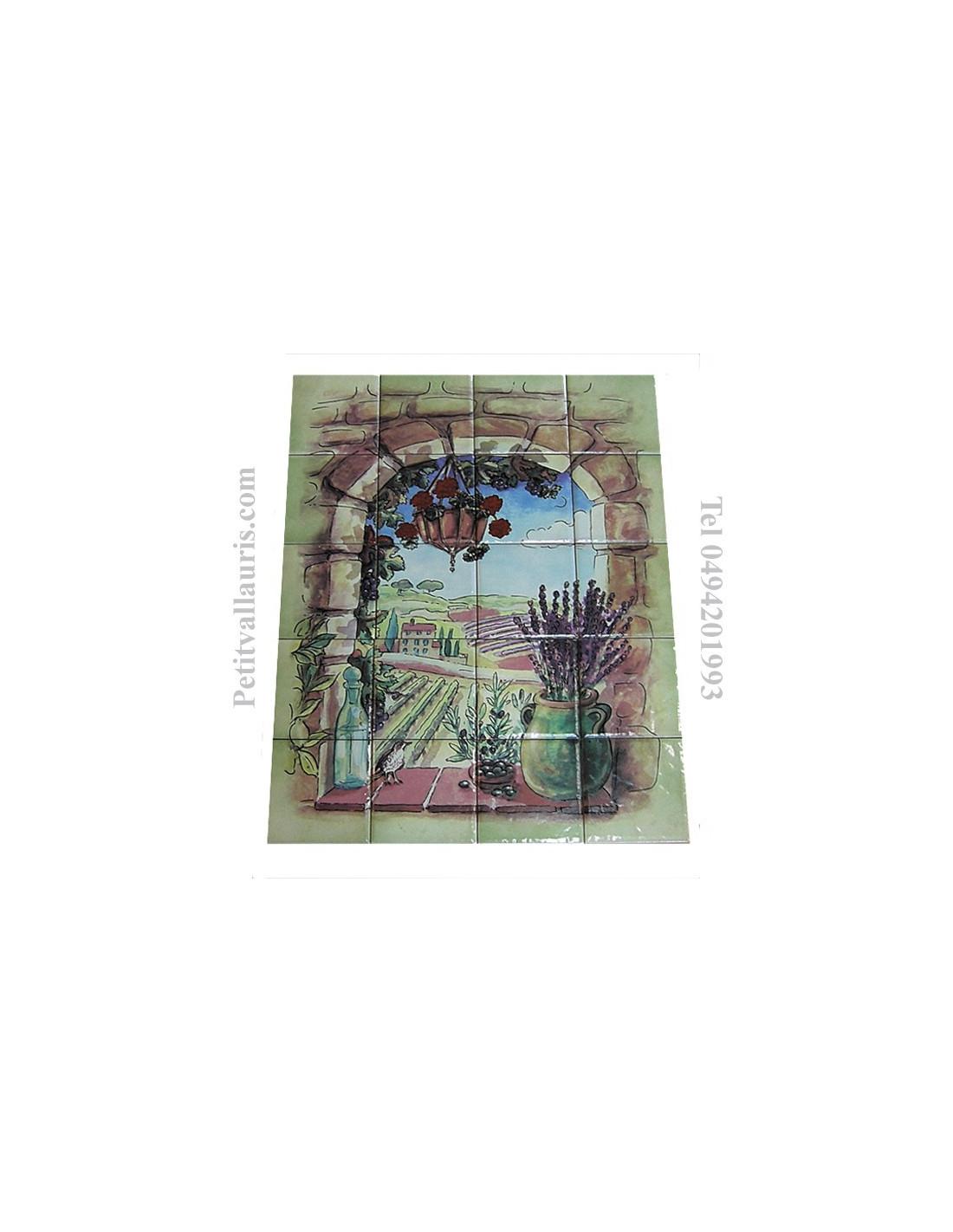 Fresque c ramique rectangulaire d cor trompe l 39 oeil for Fresque murale carrelage