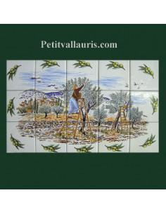 Fresque faïence Provençale décor Récolte des olives semis olives vertes