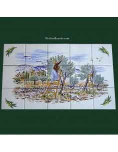 Fresque céramique décor récolte des olives et semis olive dans l'angle