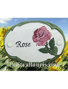 Plaque de porte décor rose