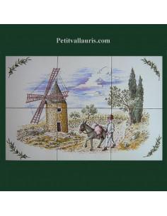 Fresque faïence décor Moulin et meunier