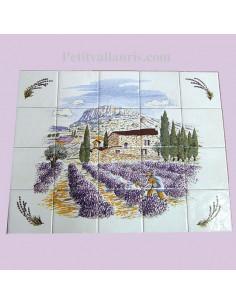 Fresque murale en faïence décor Provence et brins de lavande