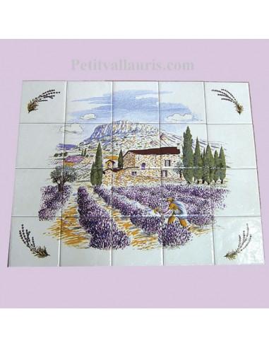 Fresque murale en faïence décor Provence et brins de lavande - LE PETIT VALLAURIS