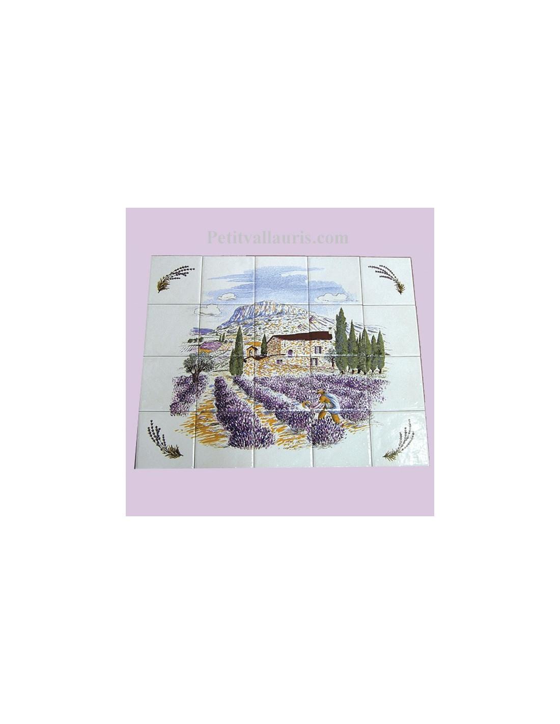 Fresque murale en fa ence d cor provence et brins de for Peindre de la faience murale