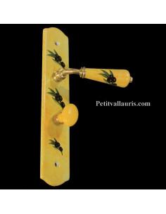 Plaque de propreté avec verrou décor olives noires fond jaune