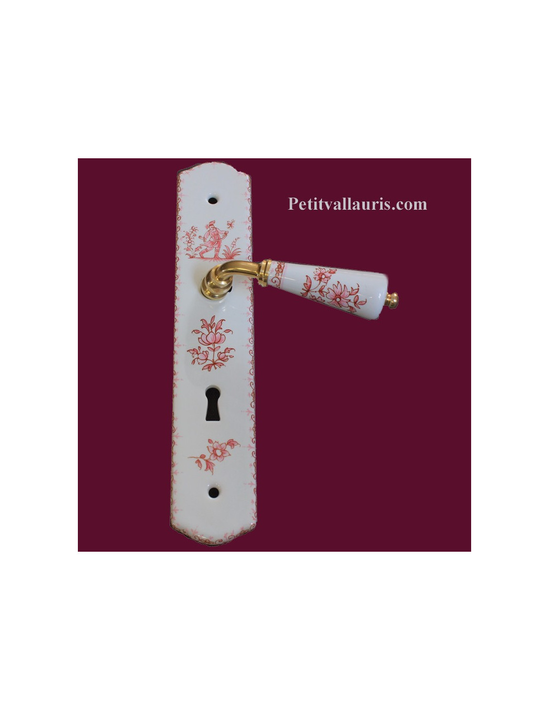 Plaque de propret d cor tradition vieux moustiers rose for Plaque de proprete porte