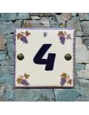 Numéro de rue ou de maison décor grappe de raisin pose horizontale chiffre bleu