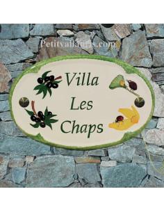 Plaque pour nom de maison ovale en céramique décor coccinelle et brins d'olive