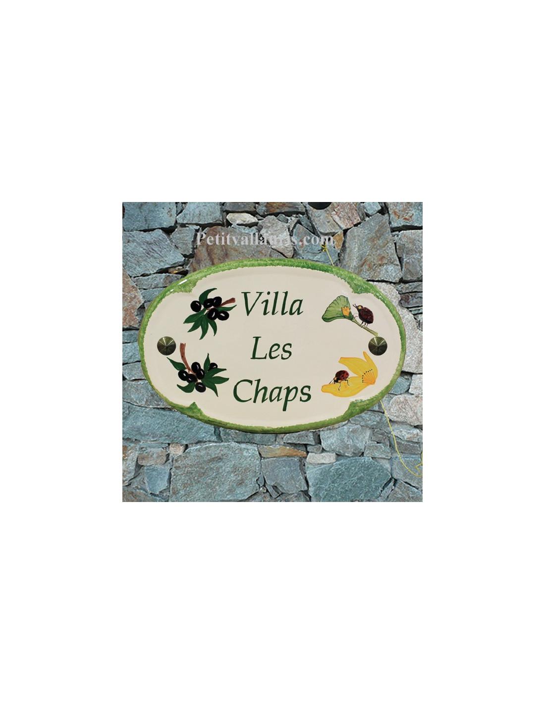 Plaque pour nom de maison ovale en c ramique d cor for Plaque nom de maison