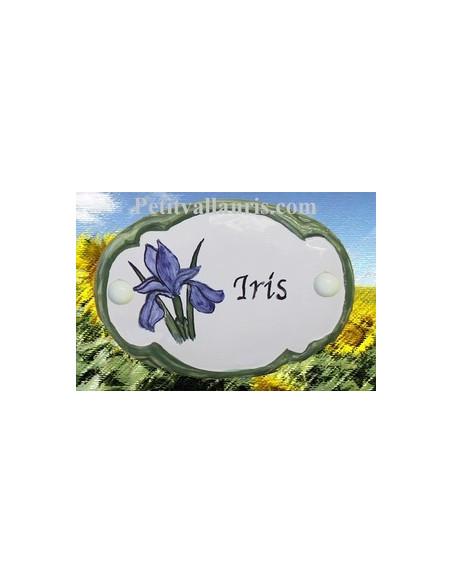 Plaque de porte en faience blanche modèle ovale motif artisanal Iris avec personnalisation
