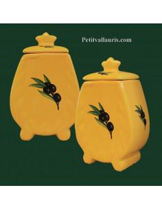 Pot de cheminée taille 4 jaune provençal décor olive noire