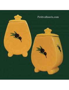 Pot de cheminée taille 5 jaune provençal décor olive noire
