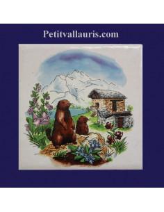 Carreau décor Marmottes en montagne paysage Ete 10 x 10 cm