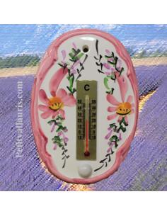 Thermomètre mural ovale en faïence décor Fleuri rose