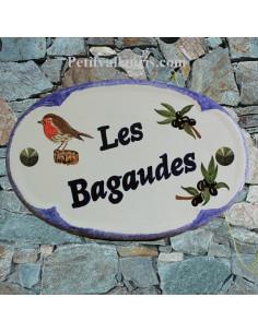 Plaque pour maison ovale en céramique décor Rouge Gorge