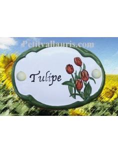 Plaque de porte décor Tulipe personnalisé