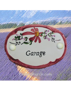 Plaque de porte Ovale fleur rose inscriptiongarage