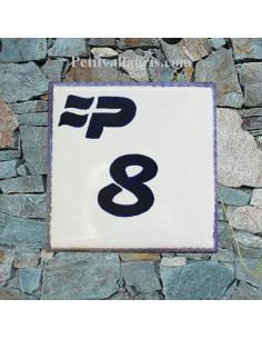 Numéro de Maison pose horizontale décor sigle région Picardie et chiffre bleu
