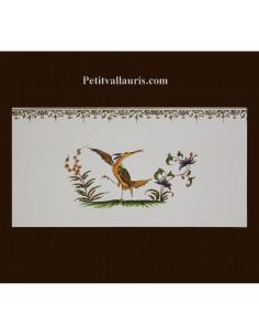 carrelage 10 x 20 en faience décor oiseau 2218 tradition vieux moustiers polychrome avec frise