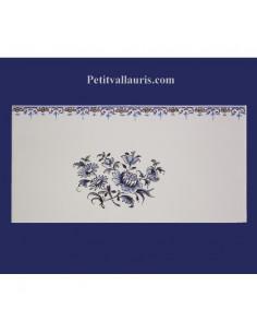 carrelage 10 x 20 en faience décor gros bouquet de fleurs tradition vieux moustiers bleu avec frise