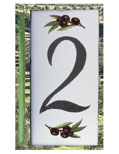 Numero de rue chiffre 2 décor brins d'olives