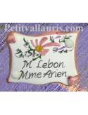 Plaque de porte personnalisée fleur rose