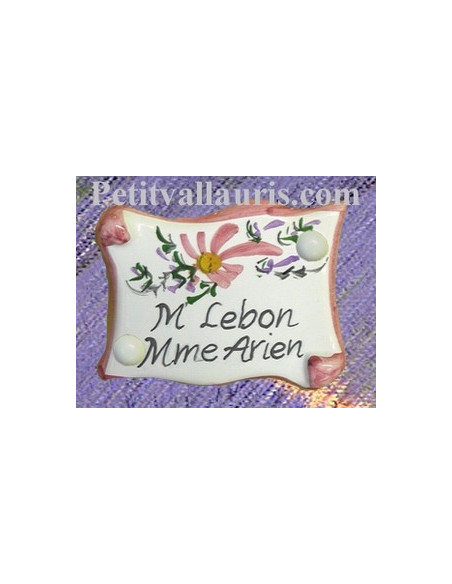 Plaque de porte inscription personnalisée fleur rose
