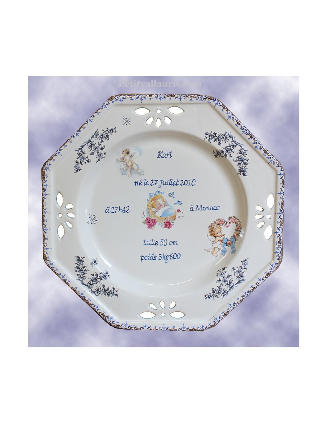 Assiette de naissance octogonale d cor ange coloris bleu for Assiette de decoration