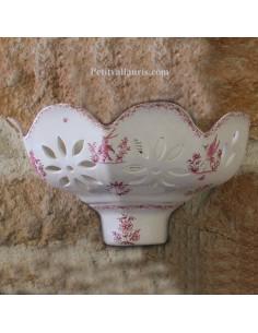 Applique ajourée facette décor Tradition Vieux Moustiers rose