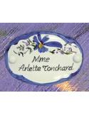 Plaque ovale de porte décor fleurs bleues