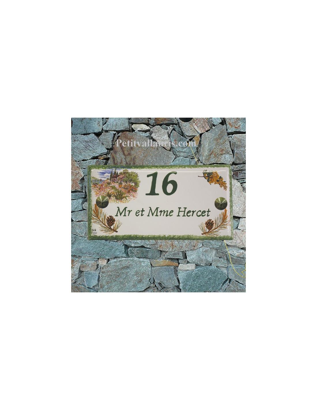 plaque de maison faience maill e d cor paysage calanque provence et pomme de pin inscription. Black Bedroom Furniture Sets. Home Design Ideas