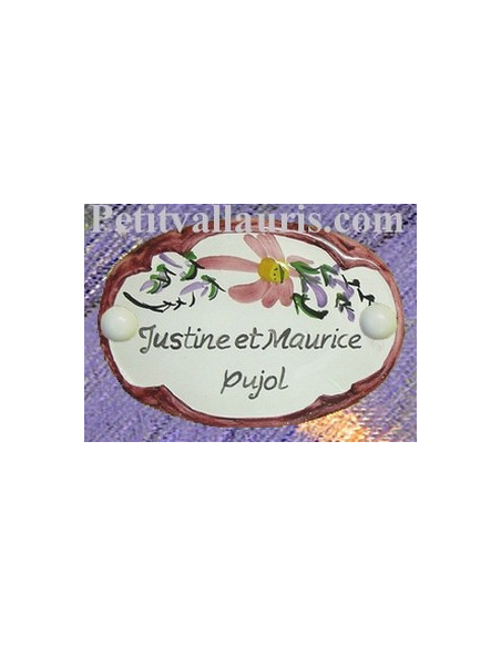 Plaque de porte en faience blanche modèle ovale décor fleurs roses avec inscription personnalisée