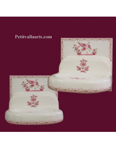 Porte savon modèle mural sur carreau 15 x 15 décor tradition vieux moustiers rose
