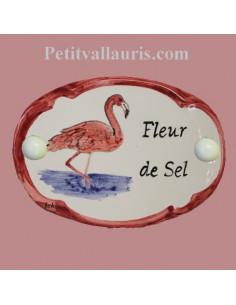 Plaque de porte décor flamant rose avec inscription personnalisée