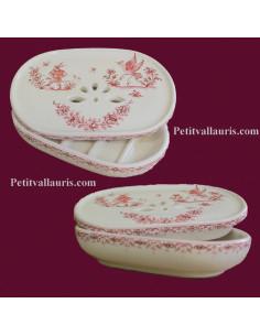 Porte savon à poser avec récupérateur décor Tradition Vieux Moustiers rose
