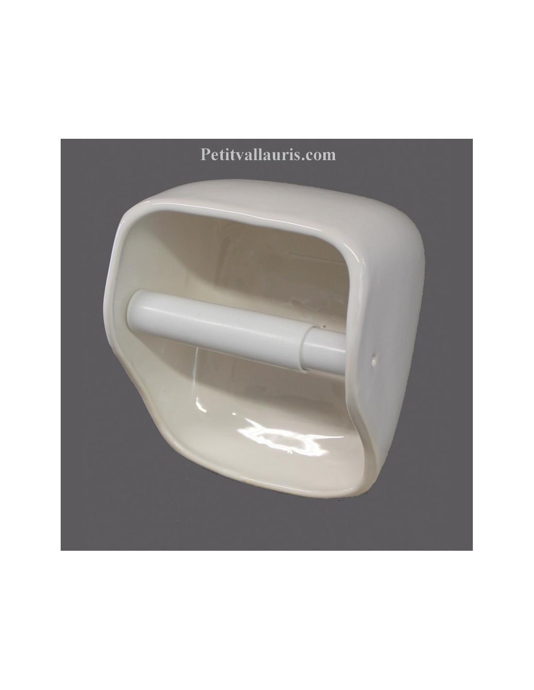 Derouleur d vidoir de papier toilette en c ramique mod le ouvert maill uni blanc - Devidoir de papier toilette ...