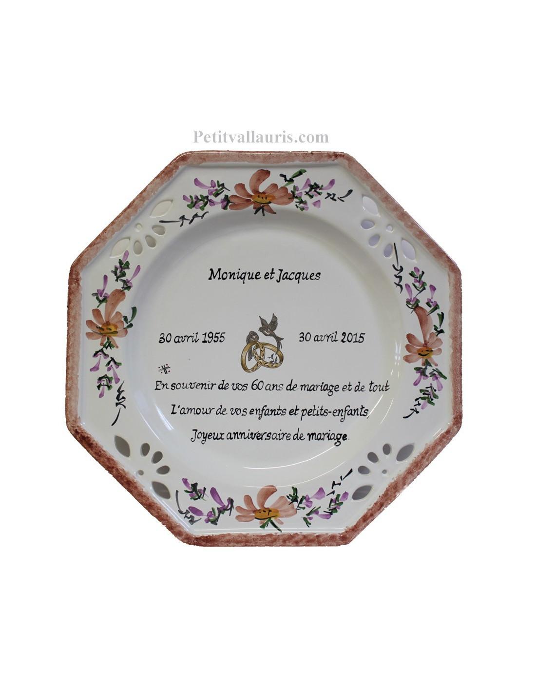 grande assiette anniversaire de mariage mod le octogonale d cor fleurs saumon beige avec po me. Black Bedroom Furniture Sets. Home Design Ideas