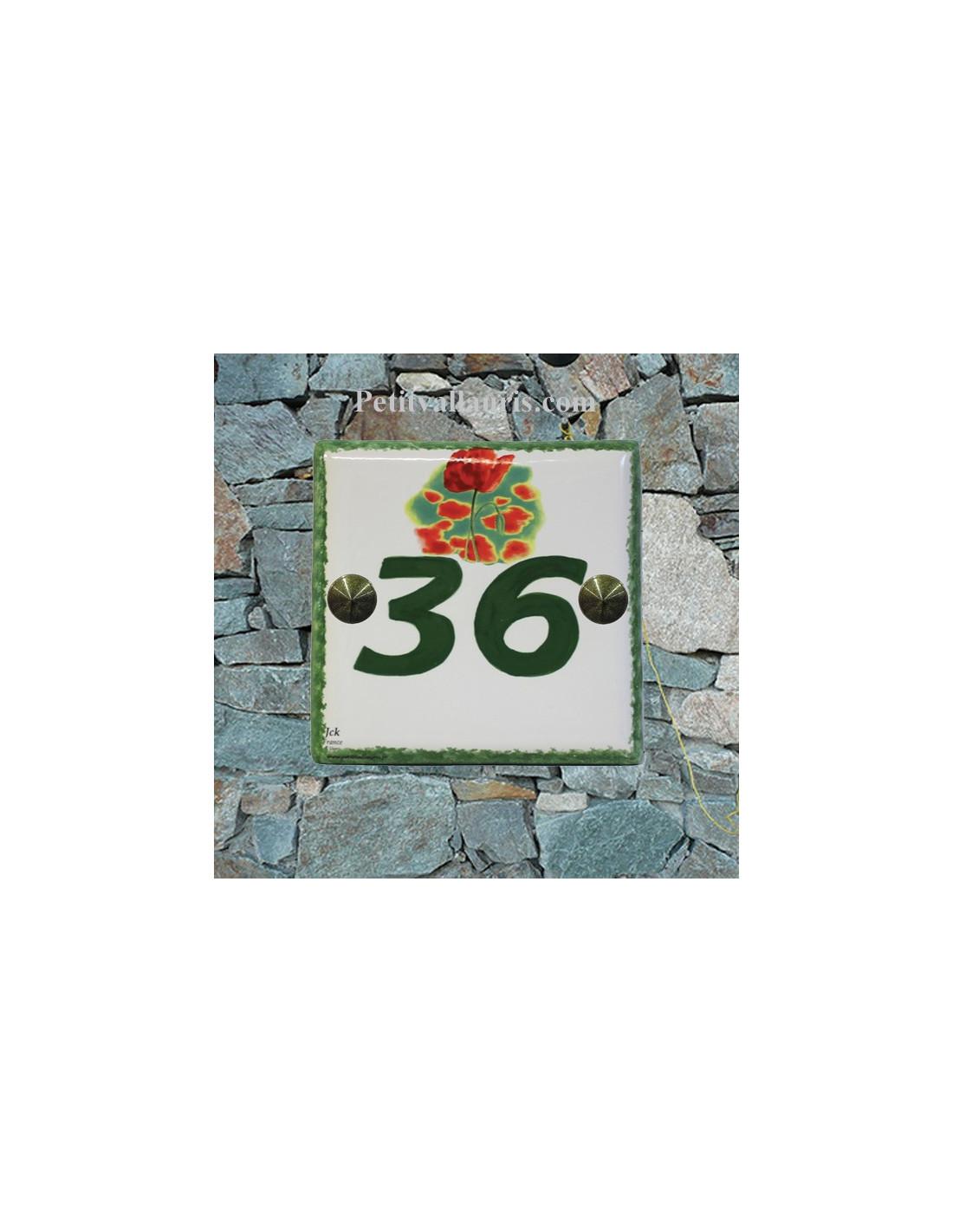 num ro de maison en faience gravure personnalis e bord et chiffre vert motif coquelicot le. Black Bedroom Furniture Sets. Home Design Ideas