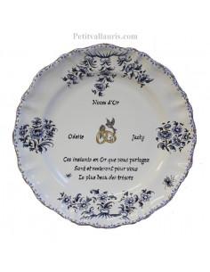Assiette pour 50 ans de mariage Louis XV en bleu Poème Noces d'or