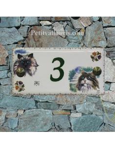 Plaque de maison faience émaillée décor Chat 4 et Chat 5 frise moustiers et texte vert