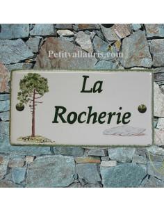 Plaque de Maison rectangle décor personnalisé pin et dolmen