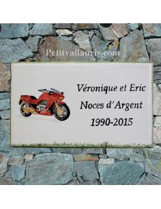 Plaque de maison en céramique personnalisée décor moto rouge