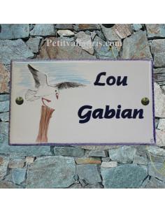 Plaque pour maison en céramique émaillée décor Gabian-Mouette-Goeland