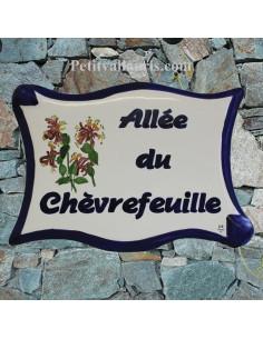 Plaque de forme parchemin décor personnalisé Chevrefeuille