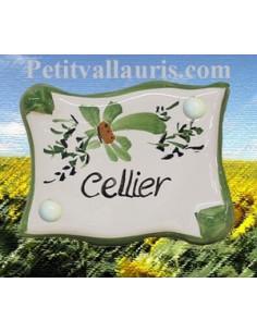 """Plaque de porte parchemin verte """"Cellier"""""""